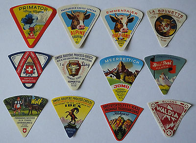 A selection  of 12 Triangle Vintage Cheese Labels #1