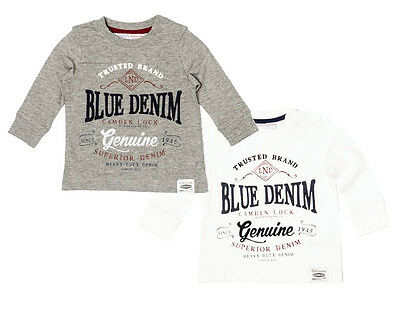 Baby Toddler Long Sleeved T-Shirt Top - Grey or Off White 6 Months - 3 Years