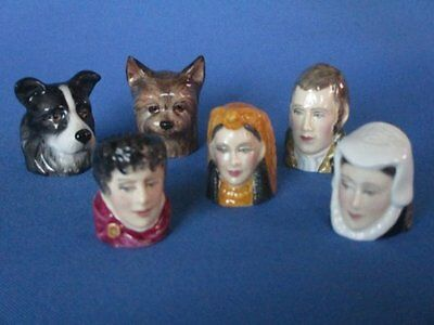 Collection 6 Vintage Staffordshire Bone China Character Thimbles Dogs Historical