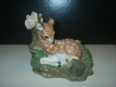 Early COUNTRY ARTISTS WILDLIFE Figurine DEER / FAWN & HEDGEHOG R Cooper & Co A1