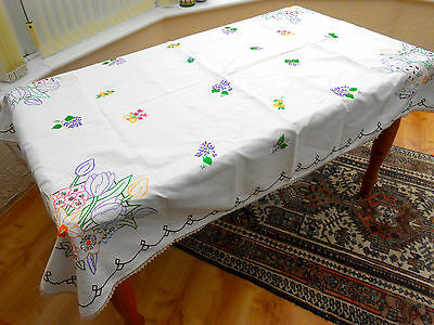 Vintage linen embroidered large floral table cloth 1.7m X 1.2m