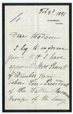 PRINCESS HELENA of WALDECK, DUCHESS of ALBANY [1861-1922] SIGNED LETTER 1891