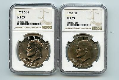 1973-D/1978 Eisenhower Dollars (MS65) NGC (Two Coins)