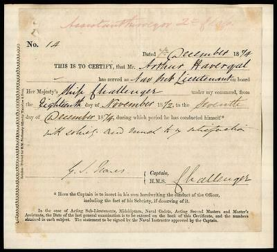 Vice-Admiral Sir George Nares Kcb [1831-1915] Artic Explorer Signed Certificate
