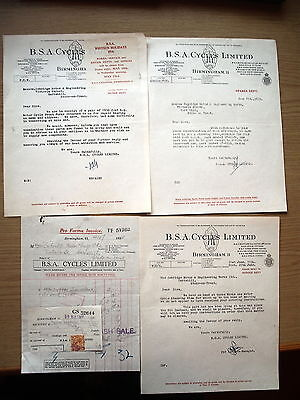 B. S. A. Cycles Limited, Original Letters And Invoice, 1934.