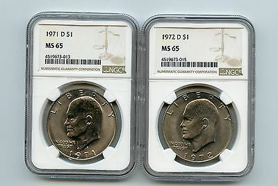 1971-D/1972-D Eisenhower Dollars (MS65) NGC (Two Coins)