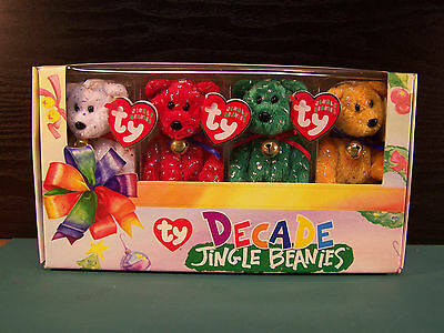 "Ty Beanie Babies ""jingle Beanies"" Christmas Collection ~ Decade Edition ~ Boxed"