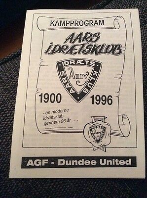 AGF Aarhus v Dundee United 1996 Friendly Programme