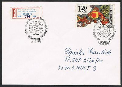 Czechoslovakia 1978. Registered cover. Gold Fish. Teplice cancellation.