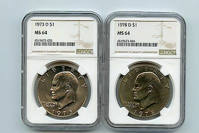 1973-D/1978-D Eisenhower Dollars (MS64) NGC (Two Coins)