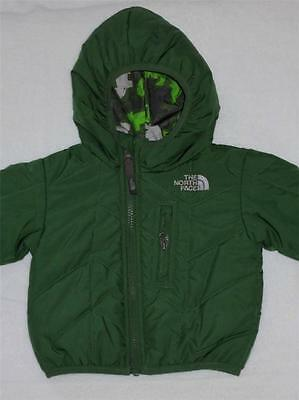 """NWT The North Face """"Perrito"""" boys green reversible  jacket  size 0-3M."""