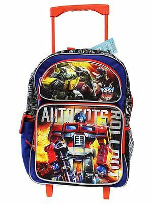 "New Transformers Kids/Boys 16"" Canvas Large School Rolling Backpack Book Bag"