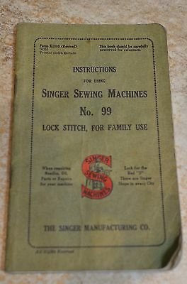 Vintage Original Singer Sewing Machine Instruction Book No. 99 Lock Stitch