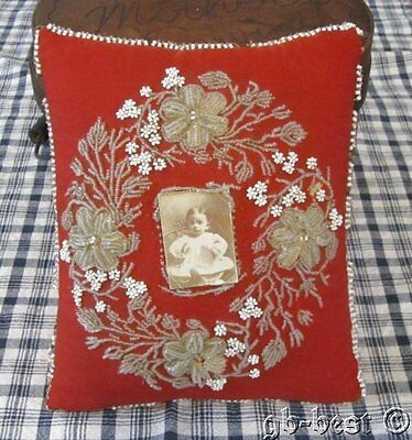 Antique Victorian Beaded Pin Cushion WITH Baby Picture Philadelphia Estate