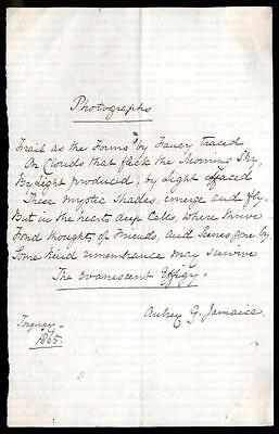 """Aubrey George Spencer [1795-1872] Eight Line Poem """"photograph"""" Signed Dated 1865"""