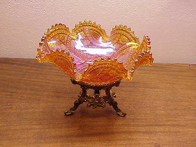 Imperial Glass Long Hobstar Bowl -Marigold - Carnival Glass with metal base