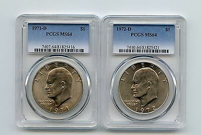 1971-D/1972-D Type1 Eisenhower Dollars (MS64) PCGS (Two Coins)