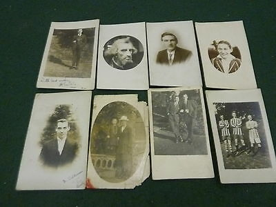 Collection of 8 B & W Vintage Pre & Post WW1 People Real Photo RP Postcards