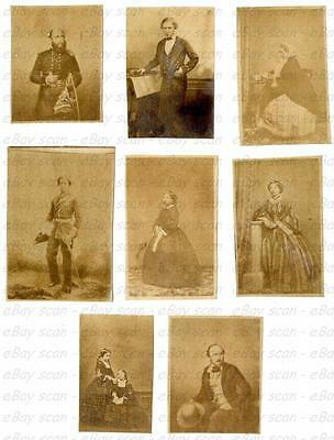 "8 ""minette"" Cards Royal Family 1860 Queen Victoria Prince Albert King Edward Vii"