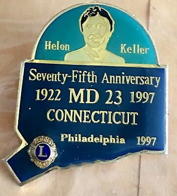 Original State of Connecticut Lions Club Helen Keller 75th Anniversary Pin