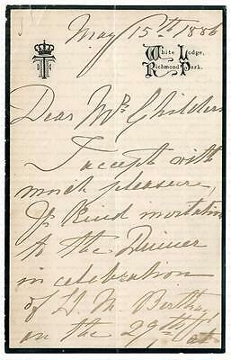 PRINCE FRANCIS of TECK [1837-1910] SIGNED LETTER HUGH CHILDERS [1827-1896] 1886