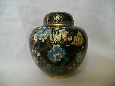 Fine Chinese Cloisonne Ginger Jar Blue Blossom & Butterfly Vintage 20Thc