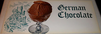 1950's Very Large Diner Soda Fountain German Chocolate Ice Cream Sign