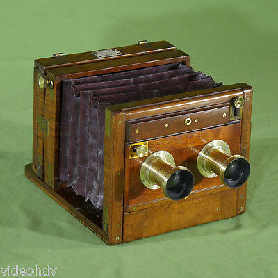 Wet Dry Plate Meagher Stereo Tailboard Camera Half Plate Mahogany Brass Wood