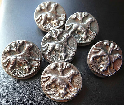 antique Victorian set of 6 pewter silver tone hunting dog buttons -C140