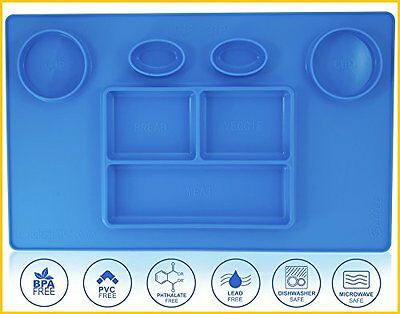 Kids Placemats Silicone for Kids toddler Plate happy mat BPA FREE Mat (Blue) NEW