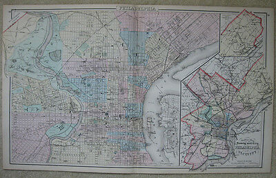 Philadelphia and Vicinity – Large Original Antique Map 1883