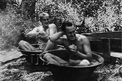WW2 Vintage Photo 1940's Nude Men Handsome Naked US Soldiers gay interest 0168