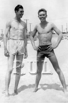 Vintage Photo 1940's Near Nude Handsome Muscular Young Men On Beach gay int 0206