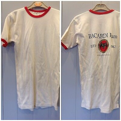 Bnwot Cream And Red  Ladies Bacardii  Round  Neck Short Sleeved T Shirt