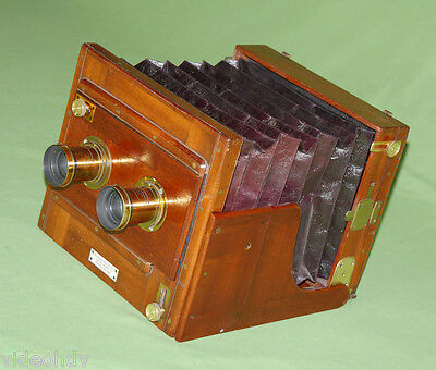 Wet Plate London Stereoscopic Stereo Whole Plate Tailboard Camera Mahogany Brass