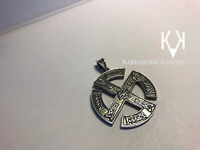 BIG Solid Sterling Silver 925 Amulet Cross Sun BIG Ethnic with Celtic Ornament