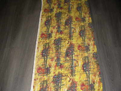 Vintage 50s abstract tree type print length cotton fabric