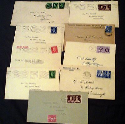 Great Britain Postal History, 9 George Vi Envelopes, All First Day Of Issue.