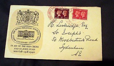 1940 GREAT BRITAIN CENTENARY OF 1st STAMP COVER WITH FACSIMILE PENNY BLACK.