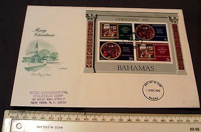 2nd DECEMBER 1975 BAHAMAS MINI SHEET ON FIRST DAY COVER COMMEMORATING CHRISTMAS.