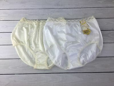 Vintage Warner High Waist Shine On Panties 2 Satin Briefs Fancy Sz 5 NOSWT Beige