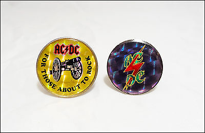 AC/DC 2 80's Prism Reflective Pins For Those About To Rock Angus Young