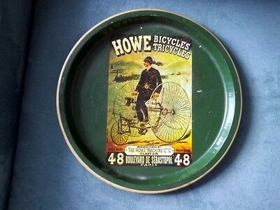 Vintage Round Metal Tray Advertising HOWE Bicycles Tricycles Glascow Paris +++
