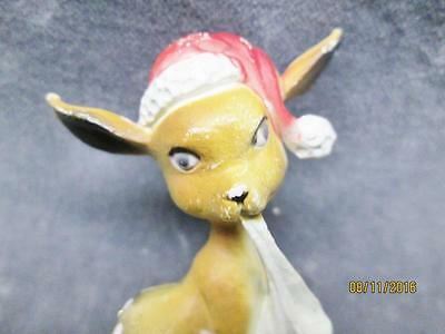 Vintage Hard Plastic Reindeer With Santa Hat Figure Made In Hong Kong