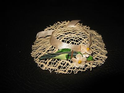 "Vintage 8"" Betsy McCall Doll Hat - White Straw Birthday Party Hat - Original"
