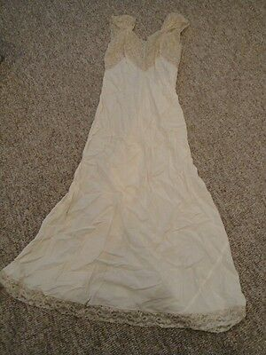 Womens Vintage beige long camisole lingerie Dress with tan lace Medium