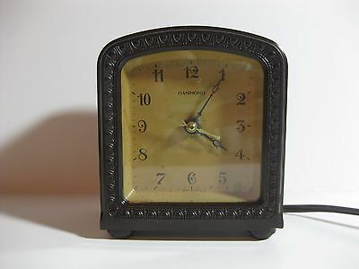 Rare Antique Hammond Electric Alarm Reverse Bakelite Clock