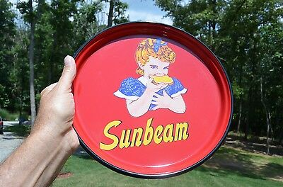 Sunbeam Bread Girl Porcelain Bakery Dairy Country Store Tray Sign