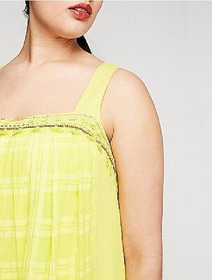 LANE BRYANT PLEATED Front Lined Maxi Dress Plus Size 24 2X 3X Lemon Yellow  NWT
