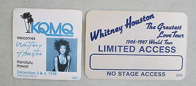 UNUSED 1980's WHITNEY HOUSTON SOUVENIR PATCH AND LIMITED ACCESS PASS LOVE TOUR
